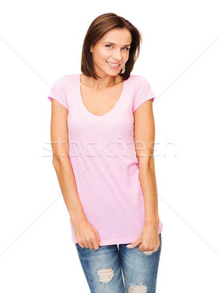 woman in blank pink t-shirt Stock photo © dolgachov