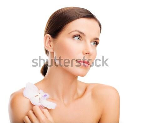 Mulher flor saúde beleza feliz Foto stock © dolgachov