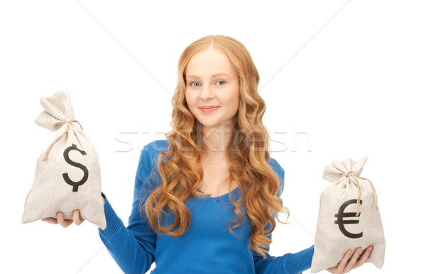 Mulher euro dólar sacos quadro dinheiro Foto stock © dolgachov