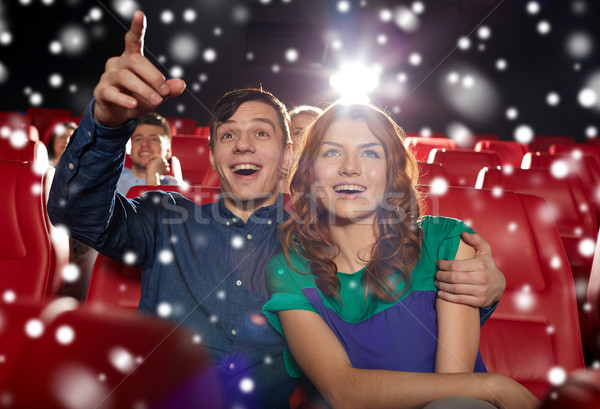 happy couple watching movie in theater Stock photo © dolgachov