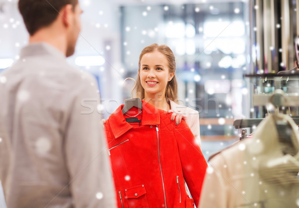 Stock fotó: Boldog · fiatal · pér · választ · ruházat · bevásárlóközpont · vásár