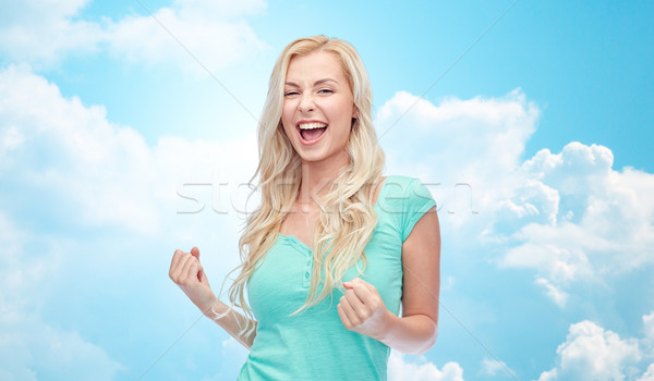 Zdjęcia stock: Szczęśliwy · młoda · kobieta · teen · girl · zwycięstwo · emocje