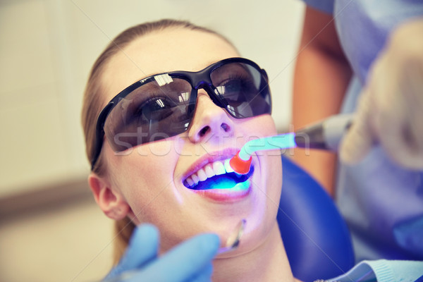 close up of woman patient with dental curing light Stock photo © dolgachov