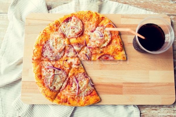 Pizza coca cola tablo fast-food İtalyan Stok fotoğraf © dolgachov