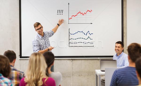 Középiskola diák mutat diagram osztálytársak oktatás Stock fotó © dolgachov
