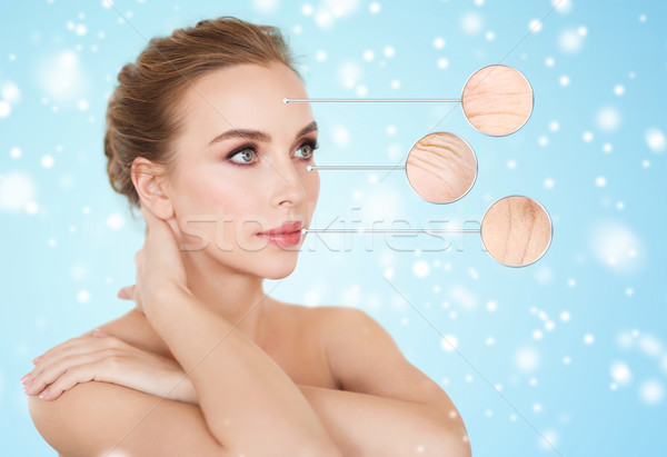 beautiful woman with magnified wrinkles on face Stock photo © dolgachov