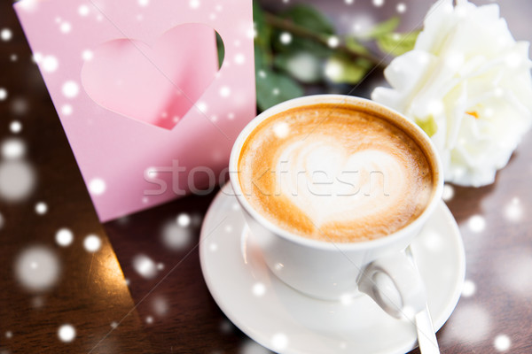 Stock photo: close up of greeting card with heart and coffee