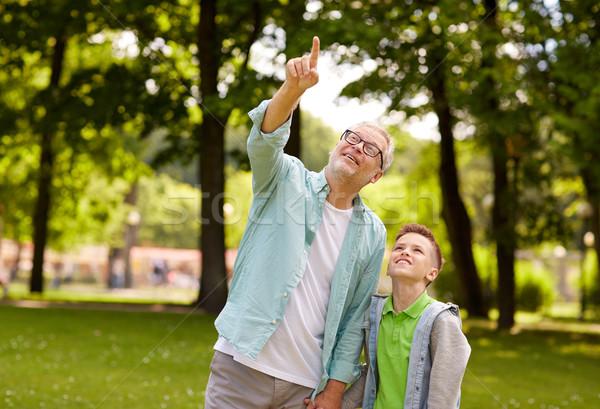 Grand-père garçon pointant up été parc Photo stock © dolgachov