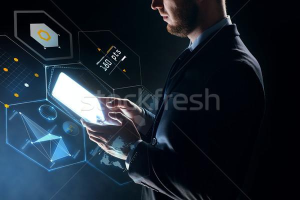 Zdjęcia stock: Biznesmen · faktyczny · projekcja · ludzi · biznesu · przyszłości