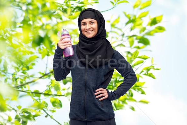 Zdjęcia stock: Muzułmanin · kobieta · manierka · sportu · fitness · ludzi