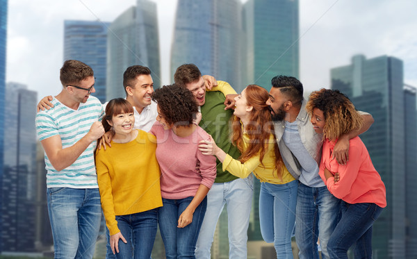 Internationale groep gelukkig lachend mensen diversiteit Stockfoto © dolgachov