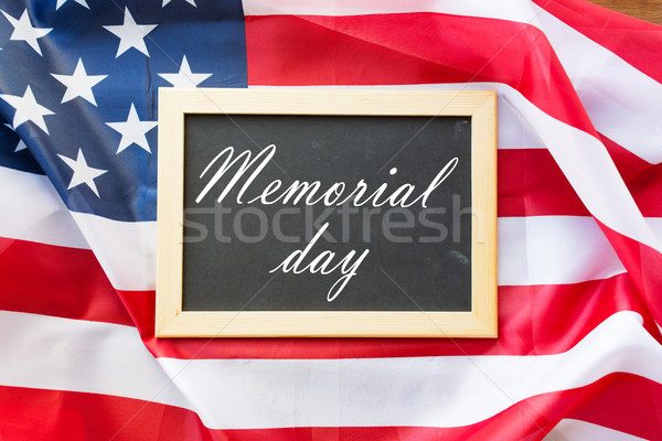 memorial day words on chalkboard and american flag Stock photo © dolgachov