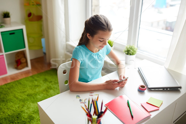 girl with smartphone distracting from homework Stock photo © dolgachov