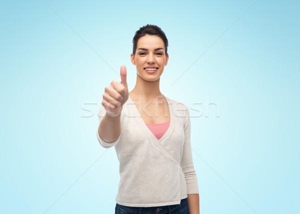 Feliz mujer sonriente tirantes gesto Foto stock © dolgachov