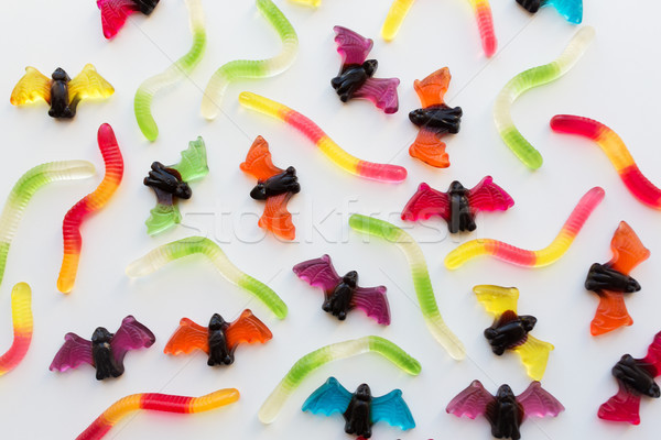 gummy worms and bet candies for halloween party Stock photo © dolgachov