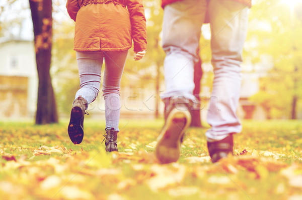 young couple running in autumn park Stock photo © dolgachov