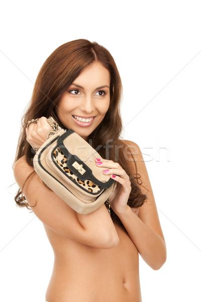 Сток-фото: женщину · небольшой · сумочка · ярко · фотография · счастливым
