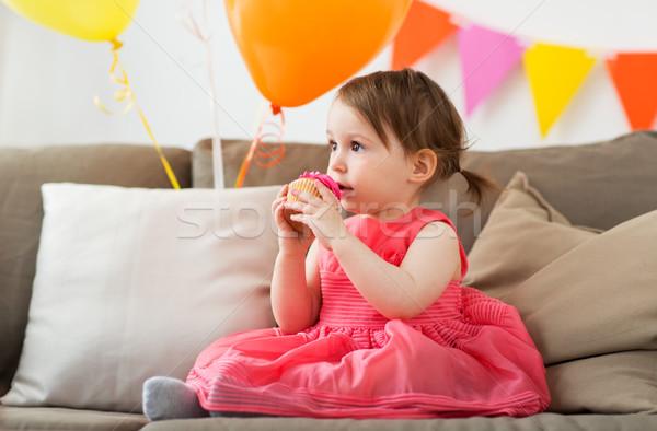 Felice mangiare festa di compleanno infanzia Foto d'archivio © dolgachov
