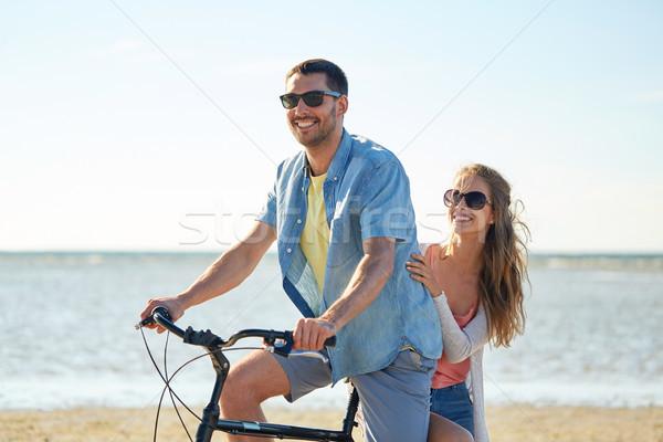 Stock foto: Glücklich · Reiten · Fahrrad · Strand · Menschen