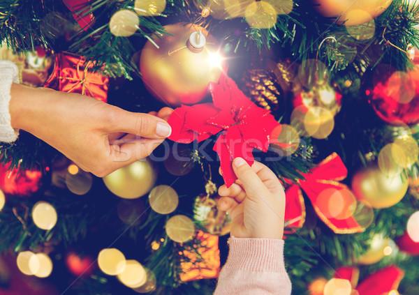 Közelkép család karácsonyfa ünnepek új év emberek Stock fotó © dolgachov