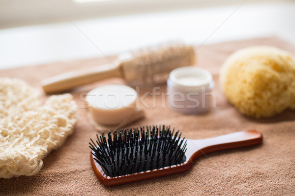 волос щетка кремом губки мыло Бар Сток-фото © dolgachov