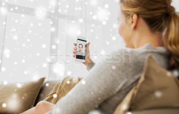 孕婦 智能手機 家 懷孕 母親 商業照片 © dolgachov