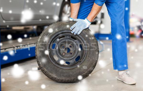 auto mechanic changing car tire at workshop Stock photo © dolgachov
