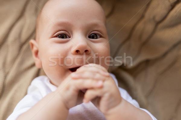 Słodkie mały baby chłopca koc Zdjęcia stock © dolgachov