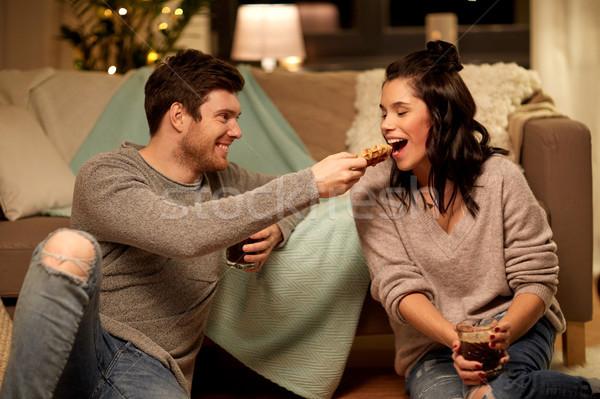 счастливым пару еды какао домой отдыха Сток-фото © dolgachov