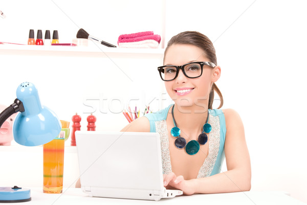 lovely woman laptop computer Stock photo © dolgachov