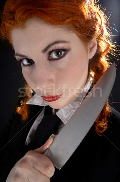 crazy schoolgirl with knife #2 Stock photo © dolgachov