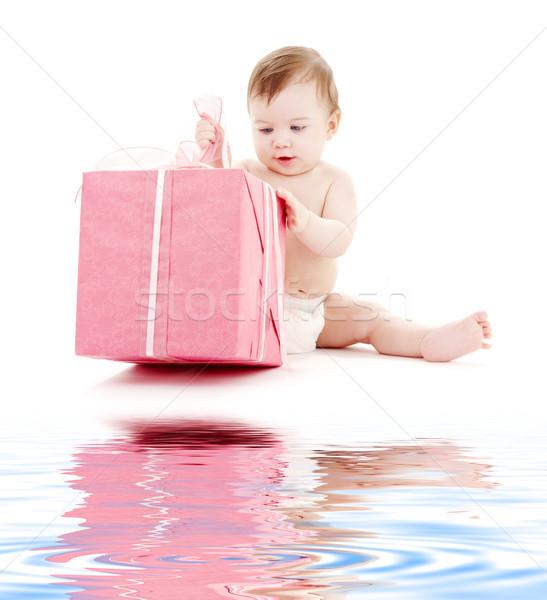 Bebê menino fralda grande caixa de presente quadro Foto stock © dolgachov