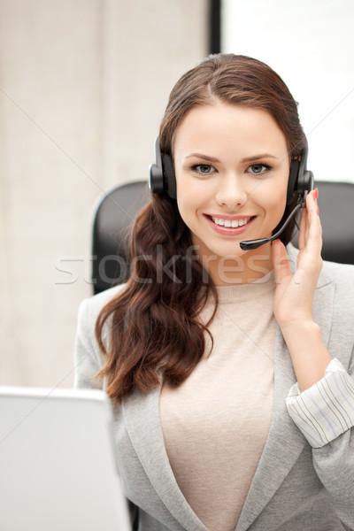 Yardım hattı operatör dizüstü bilgisayar resim iş kadın Stok fotoğraf © dolgachov