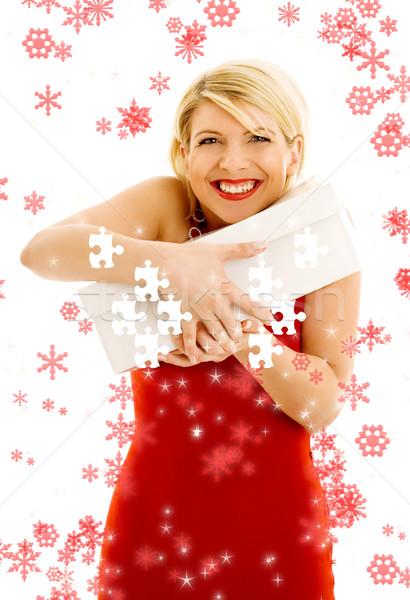 Puzzle hálás lány hópelyhek tart doboz Stock fotó © dolgachov
