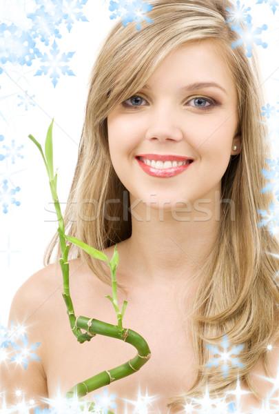 Bambu resim mutlu yeşil yaprakları Stok fotoğraf © dolgachov