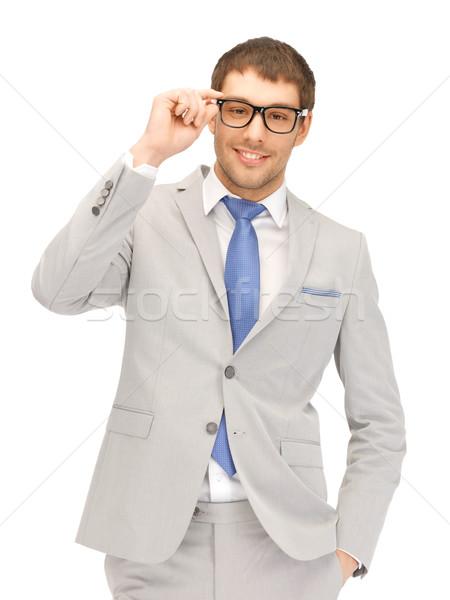 Feliz empresário óculos retrato quadro homem Foto stock © dolgachov