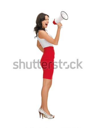 angry woman with megaphone Stock photo © dolgachov