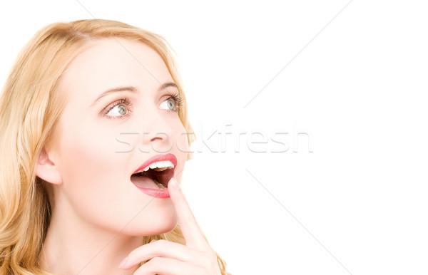 şaşırmış kadın yüzü parlak resim beyaz kadın Stok fotoğraf © dolgachov