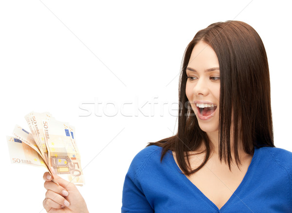 女性 ユーロ 現金 お金 画像 ビジネス ストックフォト © dolgachov