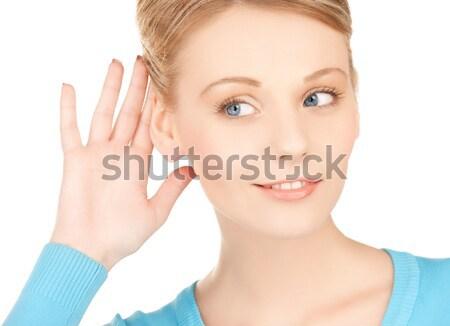 Boldog nő hallgat pletyka fényes kép Stock fotó © dolgachov