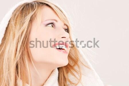 Mooie vrouw lang blond haar gezicht vrouw water Stockfoto © dolgachov