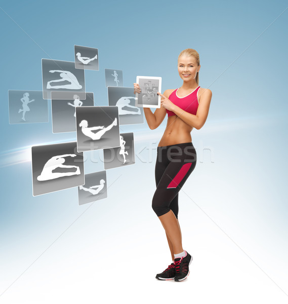 woman with tablet pc and virtual application Stock photo © dolgachov
