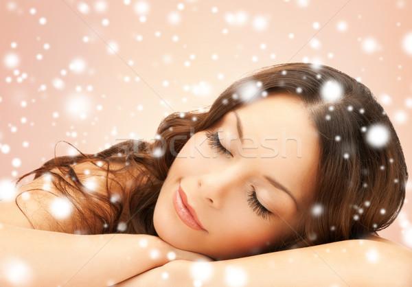 Gyönyörű nő egészség szépség hosszú szempilla fürdő Stock fotó © dolgachov