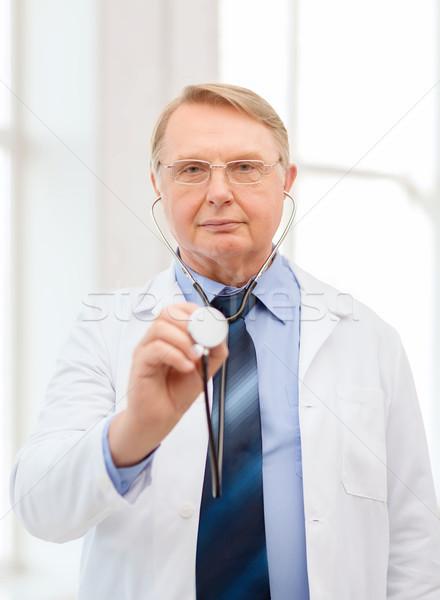 Lekarza profesor stetoskop opieki zdrowotnej muzyka Zdjęcia stock © dolgachov