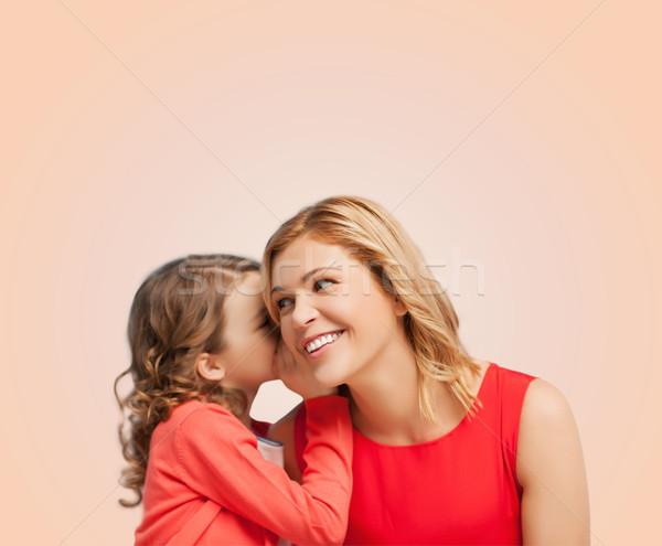 Uśmiechnięty matka córka plotka rodziny Zdjęcia stock © dolgachov