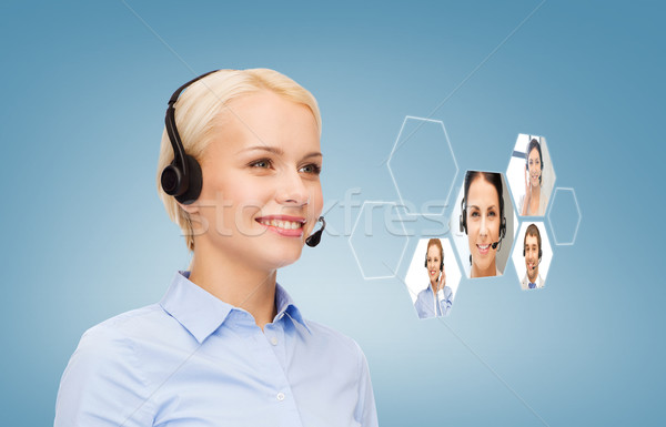 smiling woman helpline operator Stock photo © dolgachov