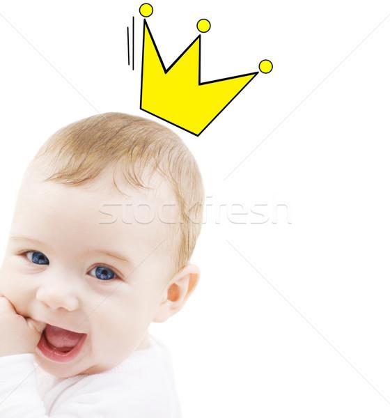 Feliz sonriendo bebé corona garabato Foto stock © dolgachov