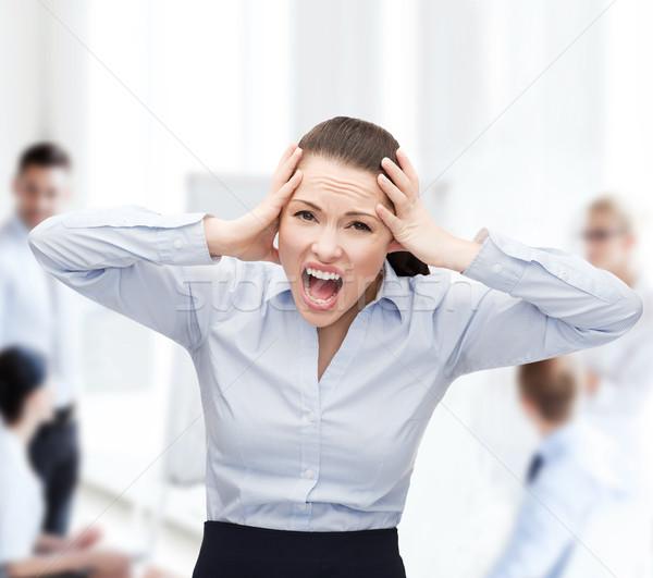 Foto stock: Enojado · gritando · mujer · de · negocios · negocios · oficina · estrés