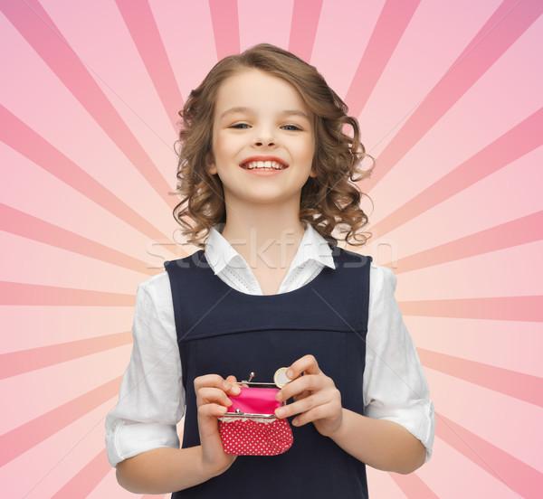 счастливая девушка кошелька евро монеты деньги Сток-фото © dolgachov