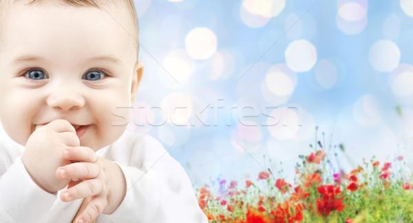Mooie gelukkig baby poppy veld kinderen Stockfoto © dolgachov